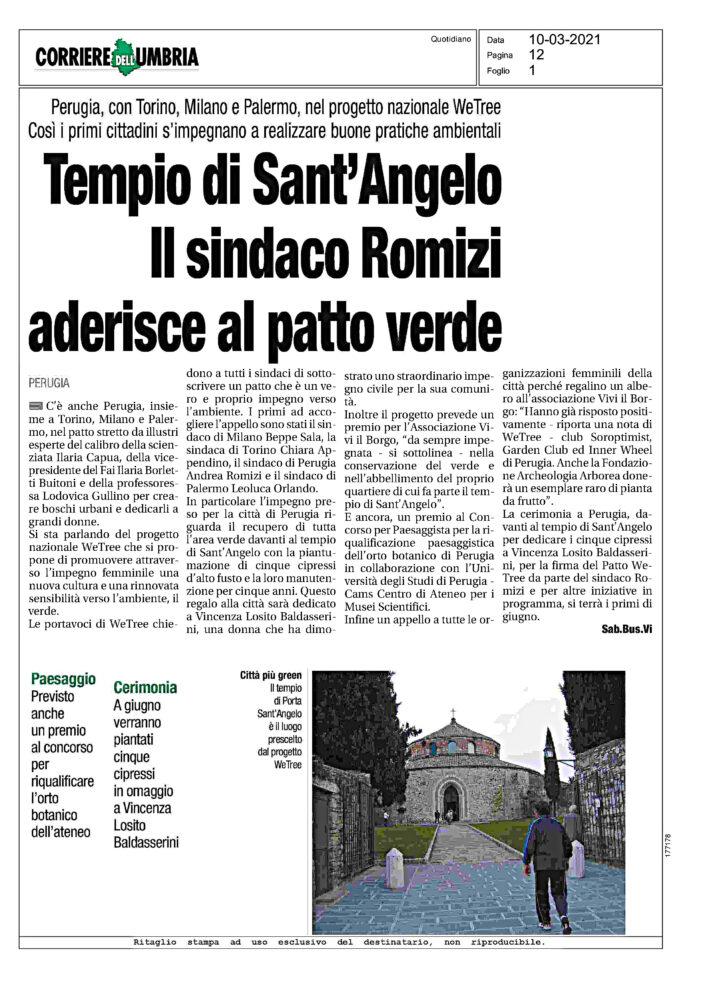 Tempio di Sant'Angelo. Il sindaco Romizi aderisce al patto verde