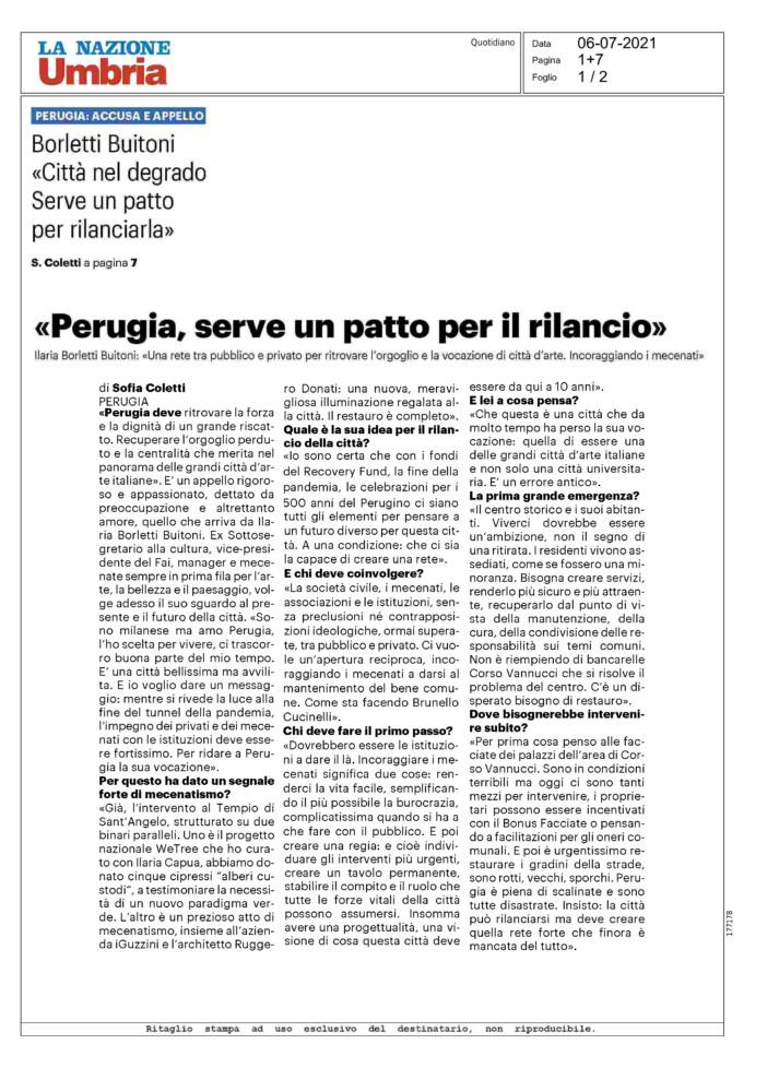 La nazione Umbria - Perugia, serve un patto per il bilancio